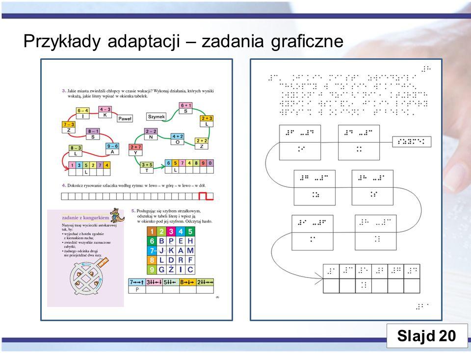 Przykłady adaptacji – zadania graficzne Slajd 20