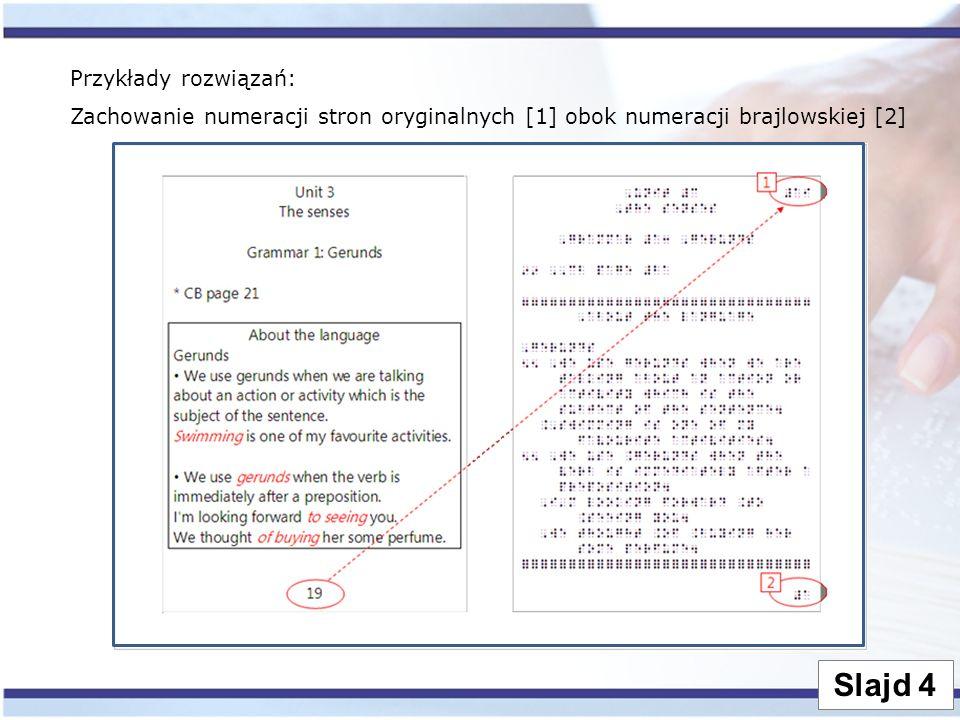 Slajd 4 Przykłady rozwiązań: Zachowanie numeracji stron oryginalnych [1] obok numeracji brajlowskiej [2]