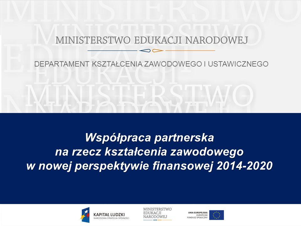 Jaka jest struktura szkolnictwa zawodowego KSZTAŁCENIE ZAWODOWE PRIORYTETEM NOWEJ PERSPEKTYWY FINANSOWEJ I.Wyzwania w tym zakresie wynikające z członkostwa w UE (priorytety dla kształcenia i szkolenia zawodowego) II.Zaangażowanie partnerów społecznych w modernizację oferty i treści kształcenia zawodowego oraz działania na rzecz rozwoju współpracy szkół zawodowych ze szkołami wyższymi zaplanowane na poziomie krajowym III.Rozwój współpracy szkolnictwa zawodowego z jego otoczeniem społeczno- gospodarczym w projektach regionalnych na lata 2014-2020 2 Współpraca partnerska na rzecz kształcenia zawodowego