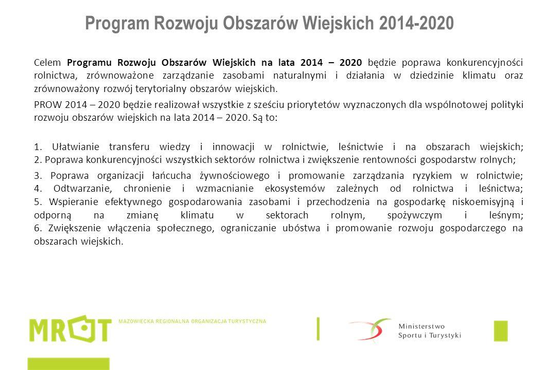 Program Rozwoju Obszarów Wiejskich 2014-2020 Celem Programu Rozwoju Obszarów Wiejskich na lata 2014 – 2020 będzie poprawa konkurencyjności rolnictwa, zrównoważone zarządzanie zasobami naturalnymi i działania w dziedzinie klimatu oraz zrównoważony rozwój terytorialny obszarów wiejskich.