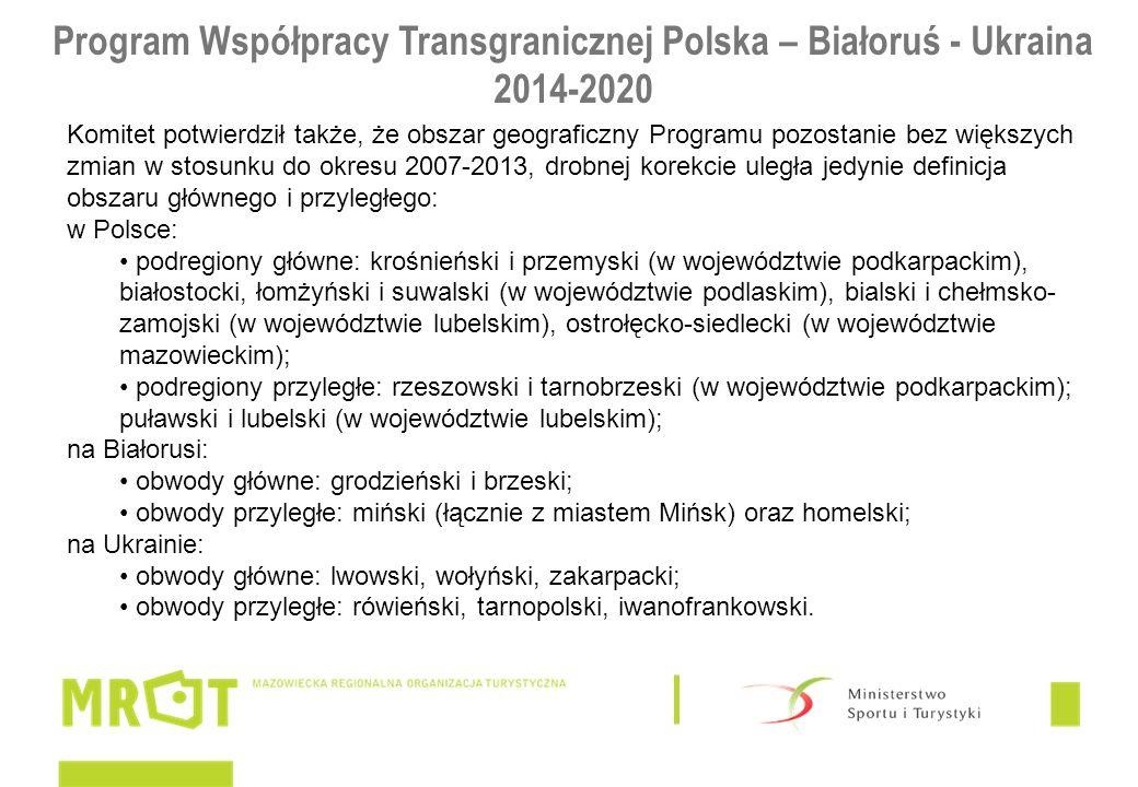 Program Współpracy Transgranicznej Polska – Białoruś - Ukraina 2014-2020 Komitet potwierdził także, że obszar geograficzny Programu pozostanie bez większych zmian w stosunku do okresu 2007-2013, drobnej korekcie uległa jedynie definicja obszaru głównego i przyległego: w Polsce: podregiony główne: krośnieński i przemyski (w województwie podkarpackim), białostocki, łomżyński i suwalski (w województwie podlaskim), bialski i chełmsko- zamojski (w województwie lubelskim), ostrołęcko-siedlecki (w województwie mazowieckim); podregiony przyległe: rzeszowski i tarnobrzeski (w województwie podkarpackim); puławski i lubelski (w województwie lubelskim); na Białorusi: obwody główne: grodzieński i brzeski; obwody przyległe: miński (łącznie z miastem Mińsk) oraz homelski; na Ukrainie: obwody główne: lwowski, wołyński, zakarpacki; obwody przyległe: rówieński, tarnopolski, iwanofrankowski.