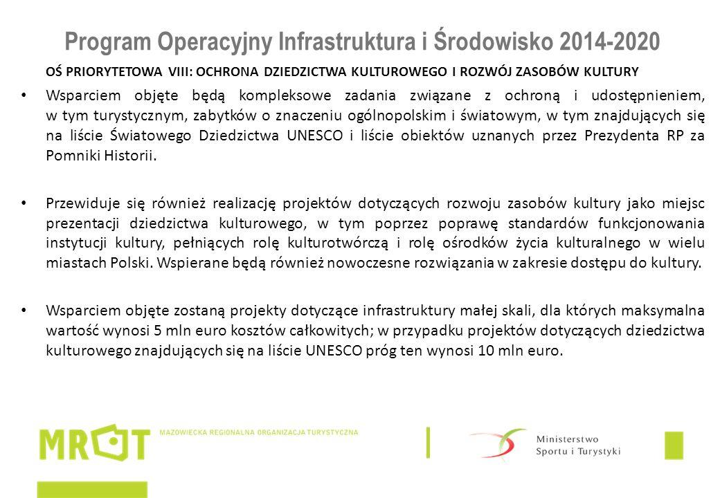 Program Operacyjny Infrastruktura i Środowisko 2014-2020 OŚ PRIORYTETOWA VIII: OCHRONA DZIEDZICTWA KULTUROWEGO I ROZWÓJ ZASOBÓW KULTURY Wsparciem obję