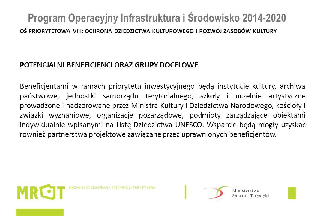 Program Operacyjny Infrastruktura i Środowisko 2014-2020 OŚ PRIORYTETOWA VIII: OCHRONA DZIEDZICTWA KULTUROWEGO I ROZWÓJ ZASOBÓW KULTURY POTENCJALNI BE