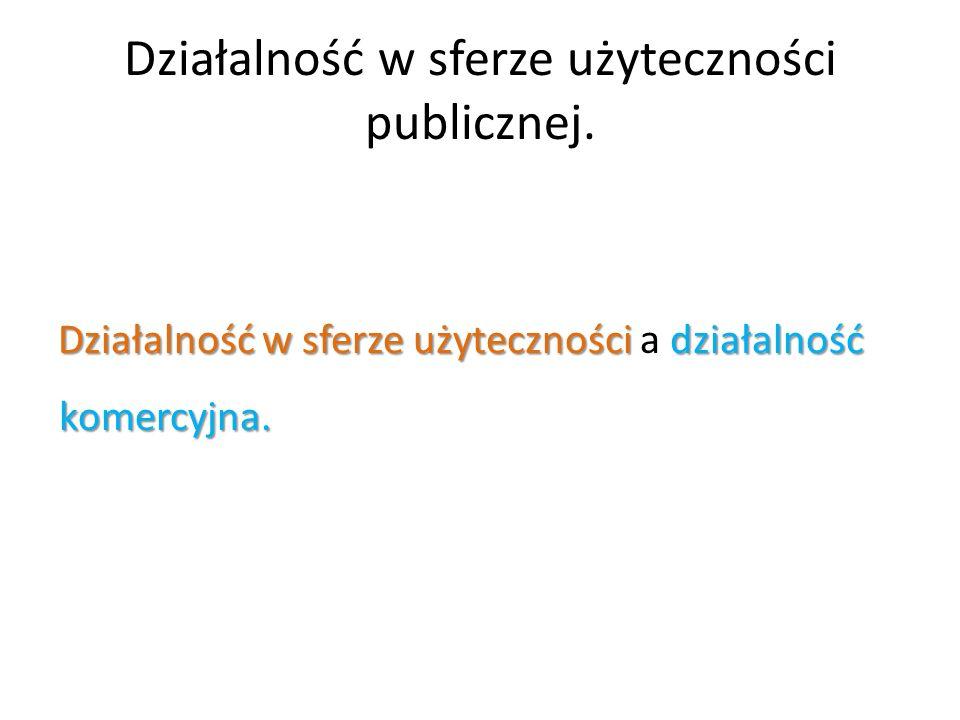 Działalność w sferze użyteczności publicznej. Działalność w sferze użyteczności działalność komercyjna. Działalność w sferze użyteczności a działalnoś