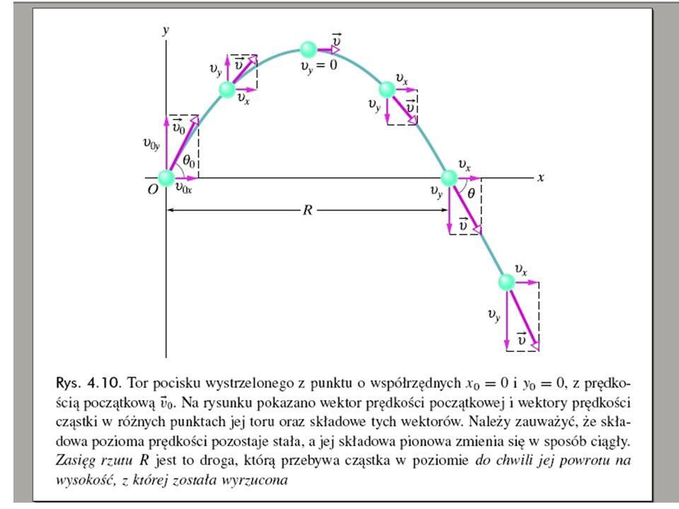 Prędkość w chwili początkowej t = 0 jest równa v o i tworzy kąt  z dodatnim kierunkiem osi x.