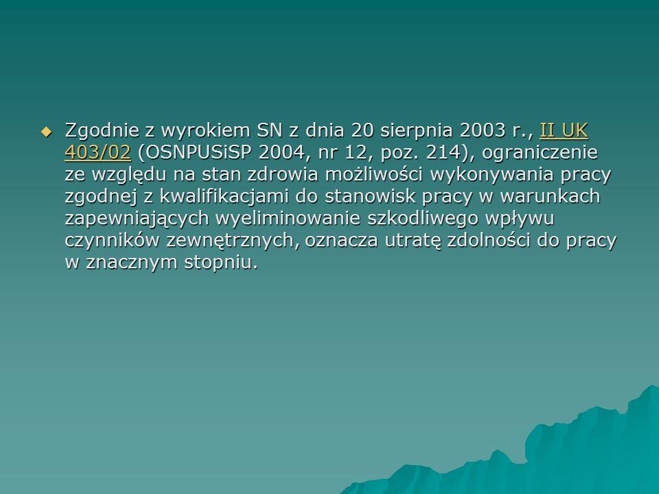  Zgodnie z wyrokiem SN z dnia 20 sierpnia 2003 r., II UK 403/02 (OSNPUSiSP 2004, nr 12, poz. 214), ograniczenie ze względu na stan zdrowia możliwości