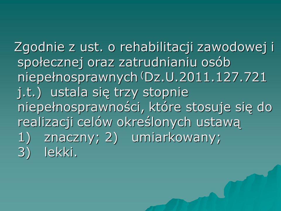Zgodnie z ust. o rehabilitacji zawodowej i społecznej oraz zatrudnianiu osób niepełnosprawnych ( Dz.U.2011.127.721 j.t.) ustala się trzy stopnie niepe
