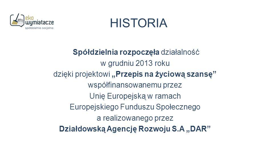 """HISTORIA Spółdzielnia rozpoczęła działalność w grudniu 2013 roku dzięki projektowi """"Przepis na życiową szansę współfinansowanemu przez Unię Europejską w ramach Europejskiego Funduszu Społecznego a realizowanego przez Działdowską Agencję Rozwoju S.A """"DAR"""