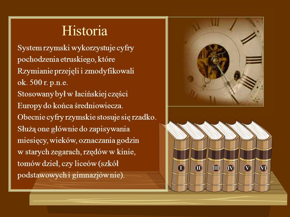 System rzymski wykorzystuje cyfry pochodzenia etruskiego, które Rzymianie przejęli i zmodyfikowali ok. 500 r. p.n.e. Stosowany był w łacińskiej części
