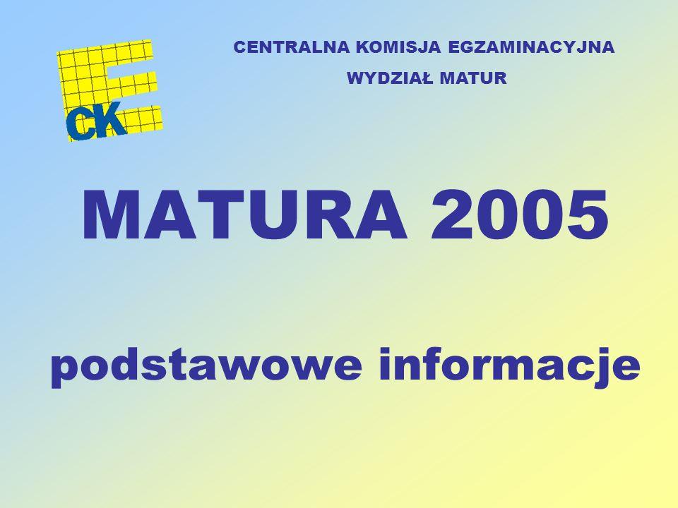 MATURA 2005 podstawowe informacje CENTRALNA KOMISJA EGZAMINACYJNA WYDZIAŁ MATUR