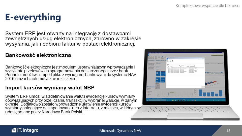 System ERP jest otwarty na integrację z dostawcami zewnętrznych usług elektronicznych, zarówno w zakresie wysyłania, jak i odbioru faktur w postaci elektronicznej.