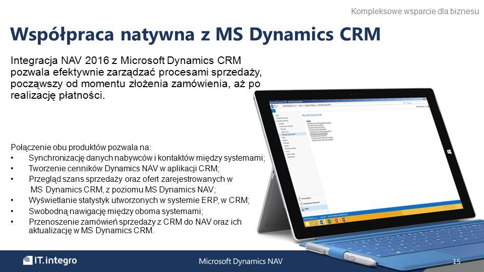 Integracja NAV 2016 z Microsoft Dynamics CRM pozwala efektywnie zarządzać procesami sprzedaży, począwszy od momentu złożenia zamówienia, aż po realizację płatności.