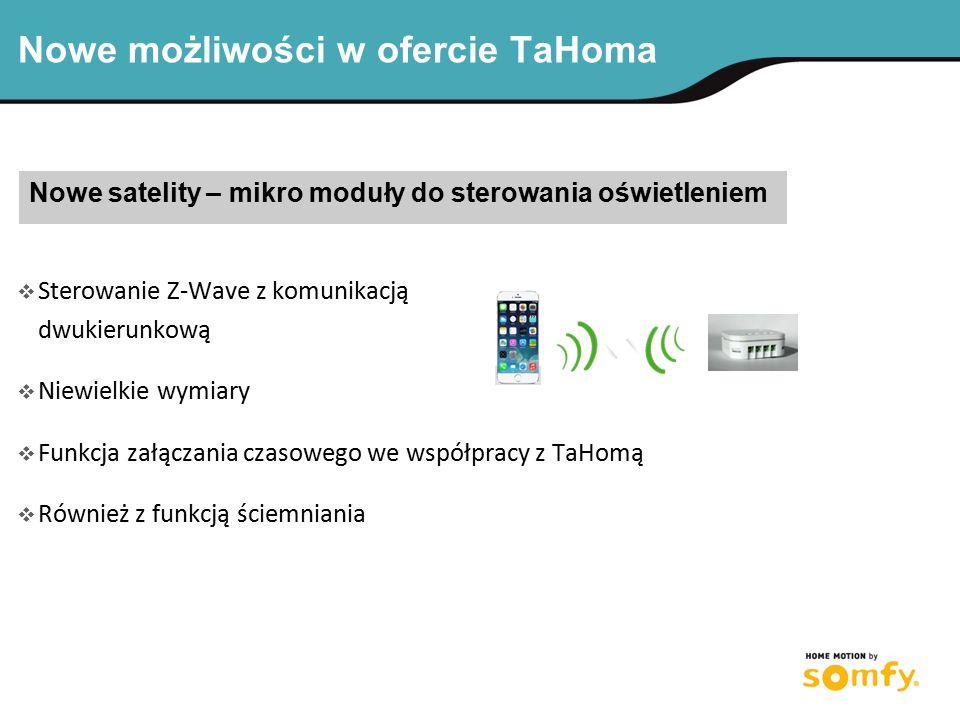 Nowe możliwości w ofercie TaHoma Nowe satelity – mikro moduły do sterowania oświetleniem  Sterowanie Z-Wave z komunikacją dwukierunkową  Niewielkie