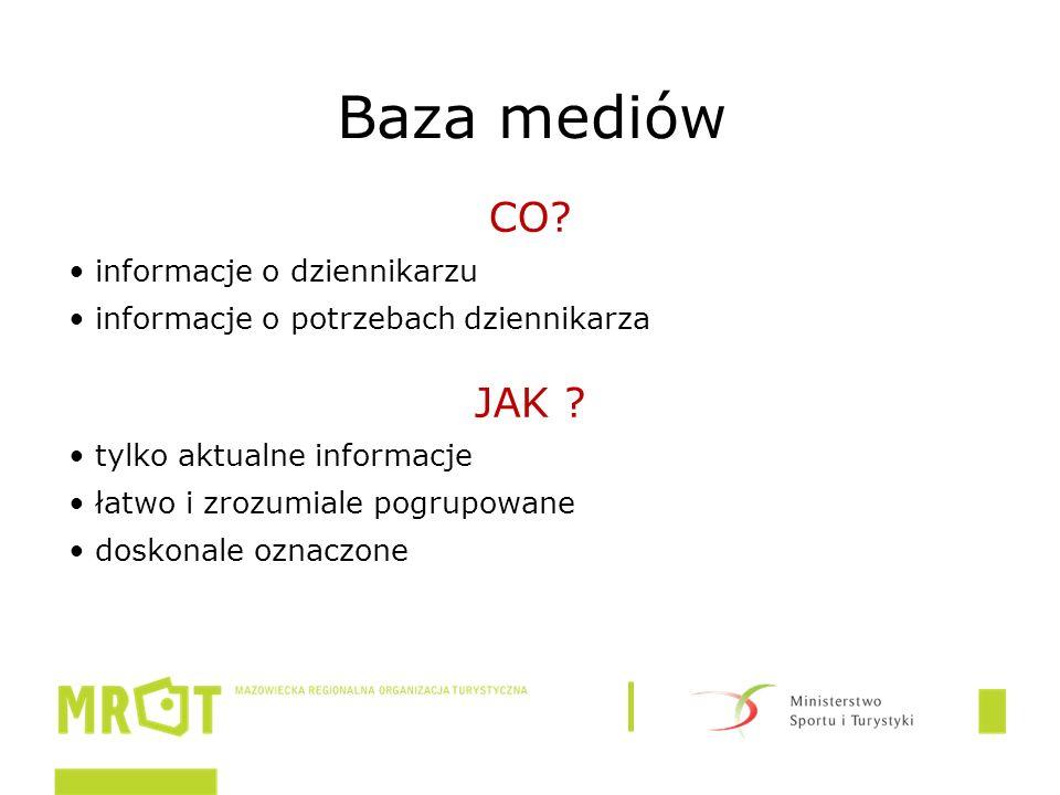 Baza mediów CO. informacje o dziennikarzu informacje o potrzebach dziennikarza JAK .