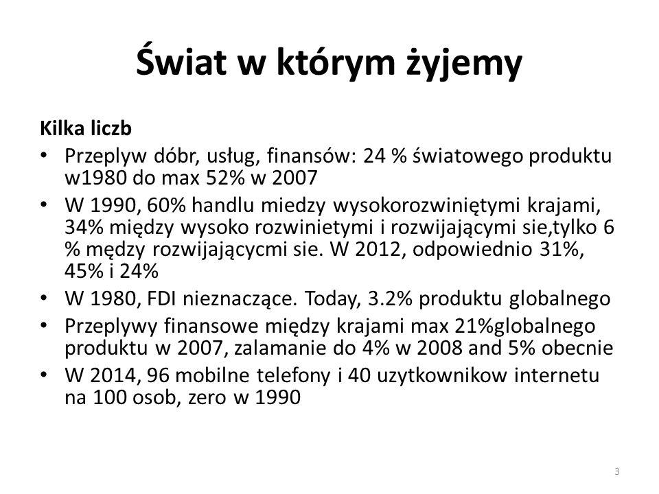 Świat w którym żyjemy Kilka liczb Przeplyw dóbr, usług, finansów: 24 % światowego produktu w1980 do max 52% w 2007 W 1990, 60% handlu miedzy wysokoroz