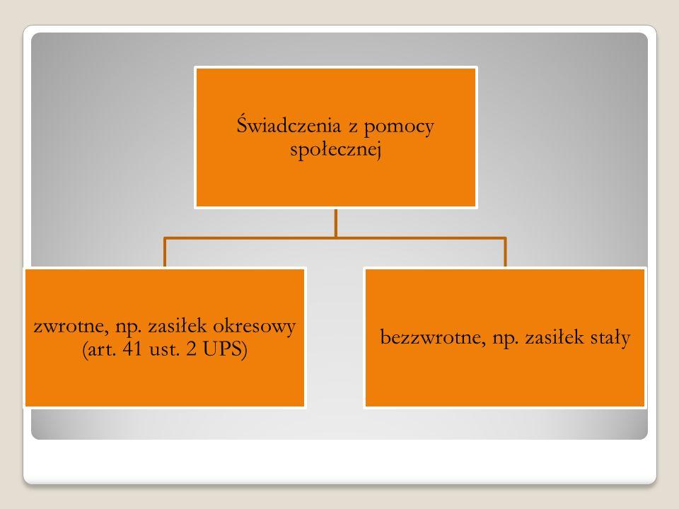 Świadczenia z pomocy społecznej zwrotne, np. zasiłek okresowy (art. 41 ust. 2 UPS) bezzwrotne, np. zasiłek stały