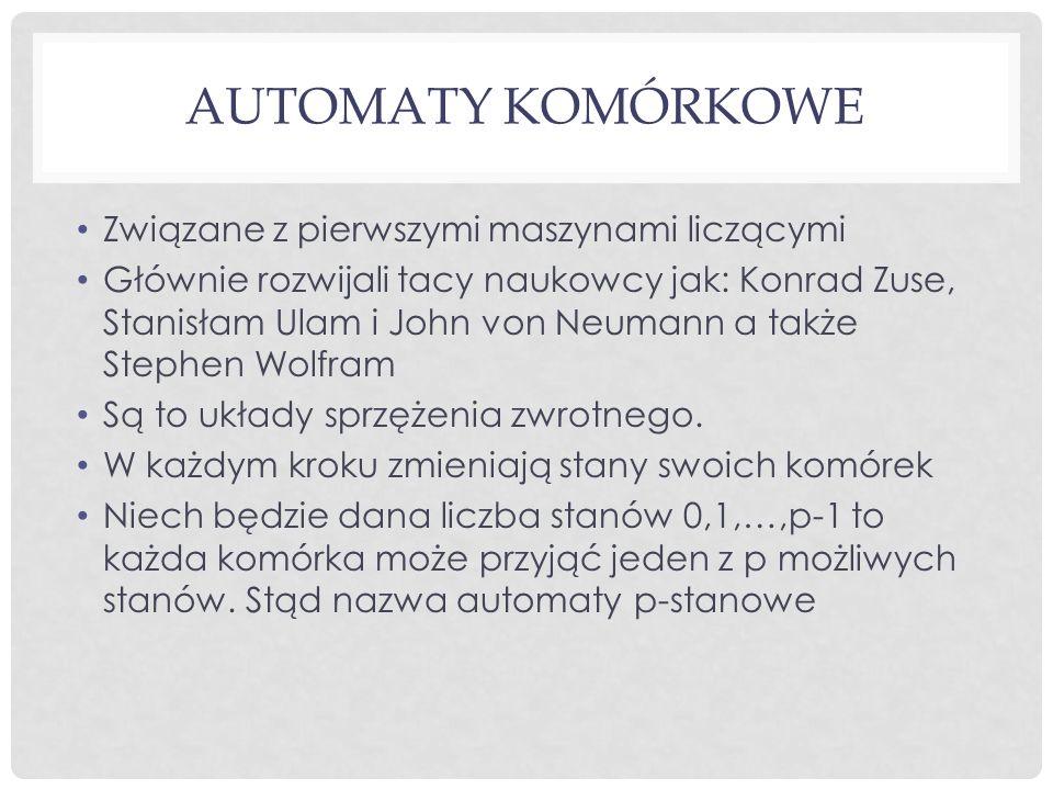 AUTOMATY KOMÓRKOWE Związane z pierwszymi maszynami liczącymi Głównie rozwijali tacy naukowcy jak: Konrad Zuse, Stanisłam Ulam i John von Neumann a tak
