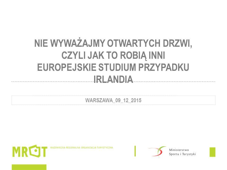 NIE WYWAŻAJMY OTWARTYCH DRZWI, CZYLI JAK TO ROBIĄ INNI EUROPEJSKIE STUDIUM PRZYPADKU IRLANDIA WARSZAWA_09_12_2015
