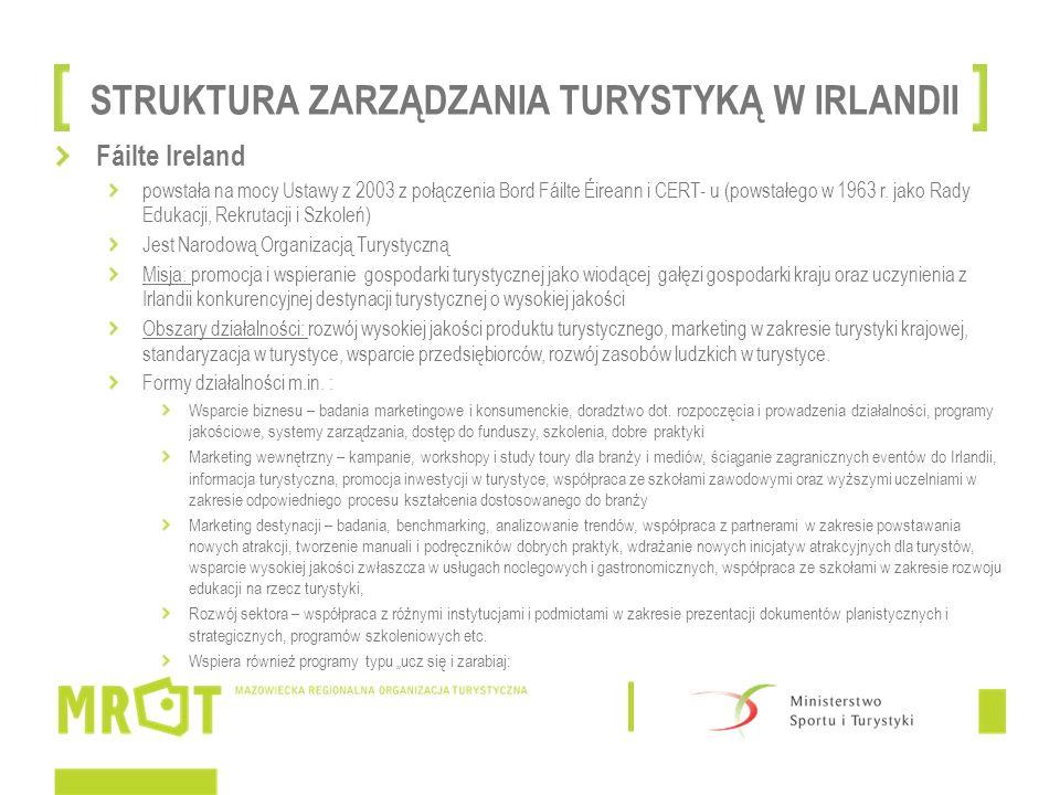 STRUKTURA ZARZĄDZANIA TURYSTYKĄ W IRLANDII Fáilte Ireland powstała na mocy Ustawy z 2003 z połączenia Bord Fáilte Éireann i CERT- u (powstałego w 1963 r.