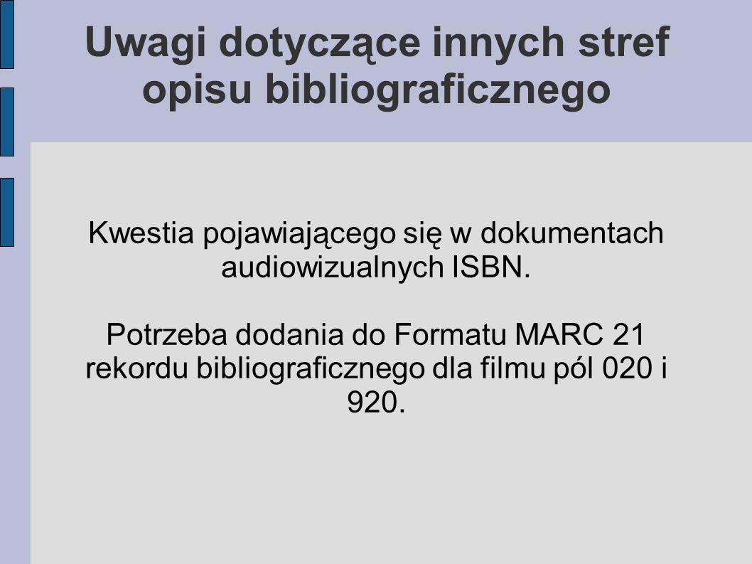 Kwestia pojawiającego się w dokumentach audiowizualnych ISBN.
