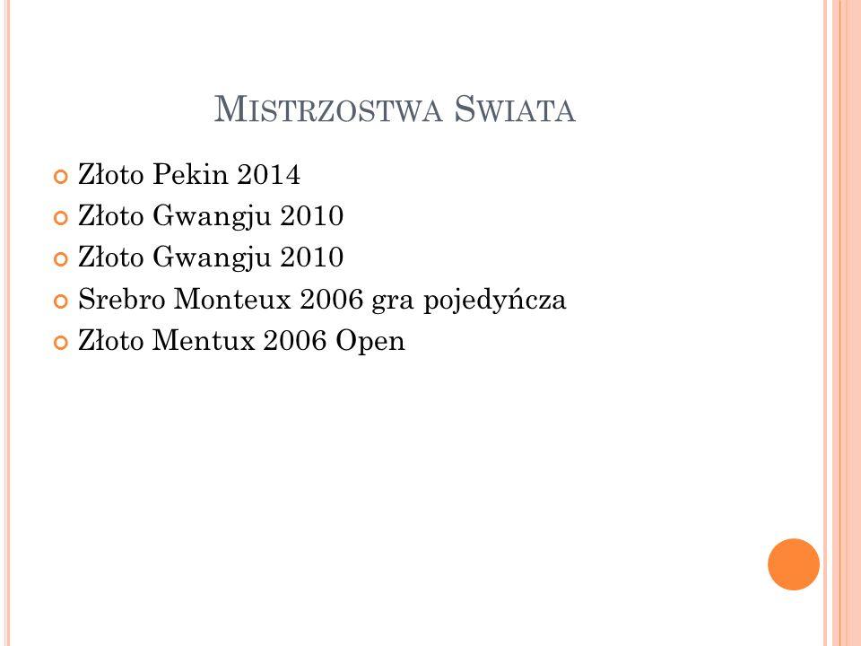 M ISTRZOSTWA S WIATA Złoto Pekin 2014 Złoto Gwangju 2010 Srebro Monteux 2006 gra pojedyńcza Złoto Mentux 2006 Open