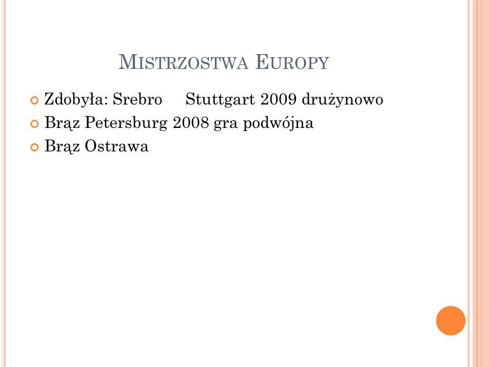 M ISTRZOSTWA E UROPY Zdobyła: Srebro Stuttgart 2009 drużynowo Brąz Petersburg 2008 gra podwójna Brąz Ostrawa