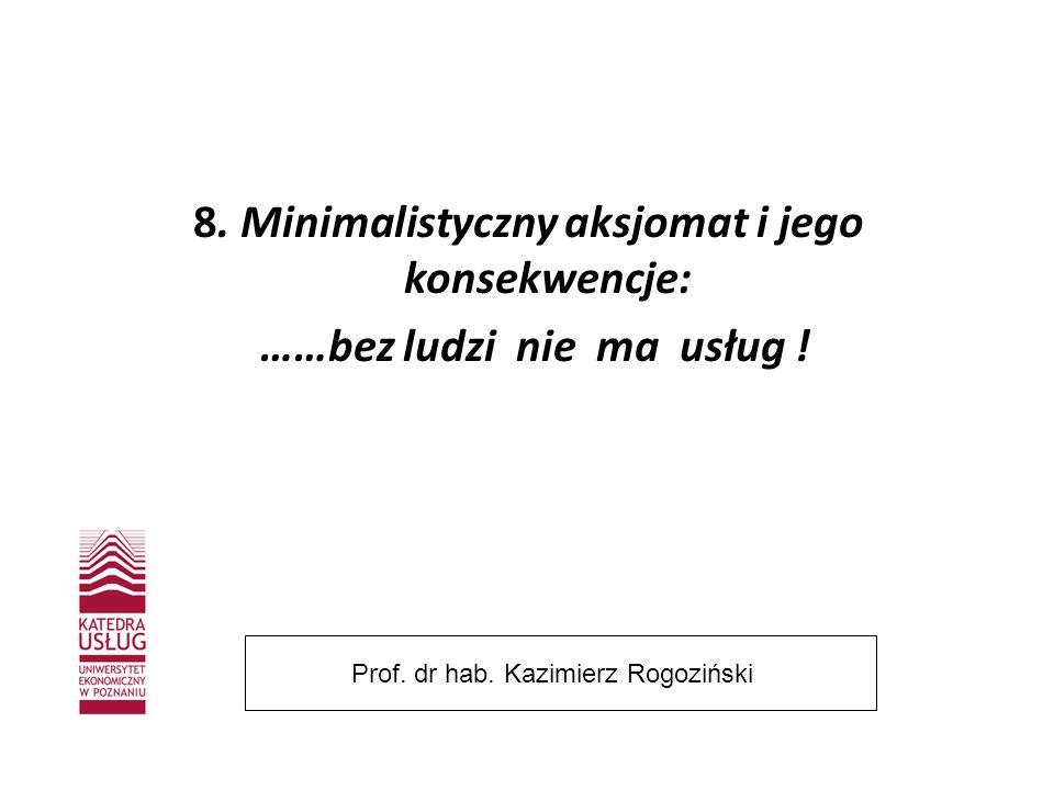 8. Minimalistyczny aksjomat i jego konsekwencje: ……bez ludzi nie ma usług ! Prof. dr hab. Kazimierz Rogoziński