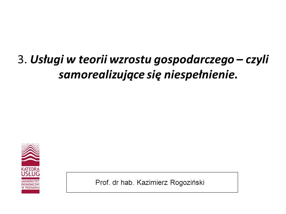 3. Usługi w teorii wzrostu gospodarczego – czyli samorealizujące się niespełnienie. Prof. dr hab. Kazimierz Rogoziński