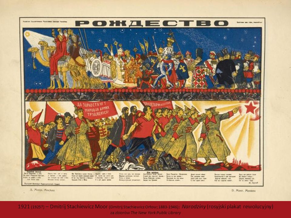 1921 (1925?) – Dmitrij Stachiewicz Moor (Dmitrij Stachiewicz Orłow; 1883-1946): Narodziny (rosyjski plakat rewolucyjny) za zbiorów The New York Public Library