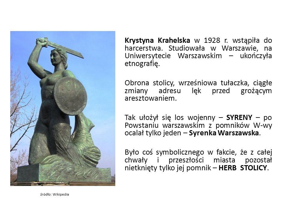 Niewielu wiedziało, że spiżowa postać dziewczyny – ryby – to właśnie ona, Krystyna Krahelska.