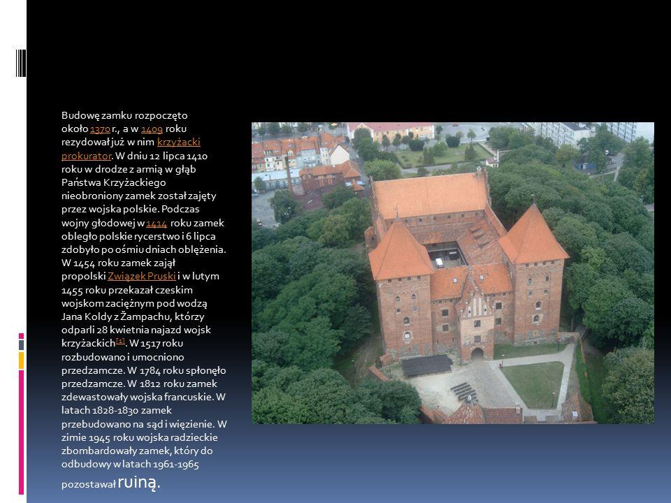 Budowę zamku rozpoczęto około 1370 r., a w 1409 roku rezydował już w nim krzyżacki prokurator. W dniu 12 lipca 1410 roku w drodze z armią w głąb Państ