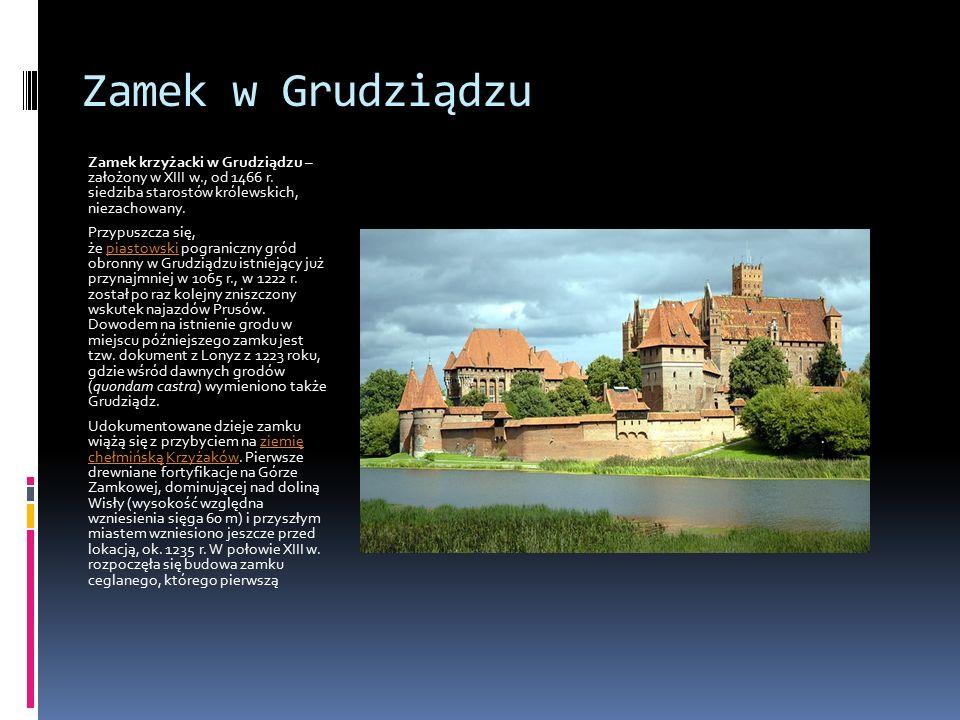 Zamek w Grudziądzu Zamek krzyżacki w Grudziądzu – założony w XIII w., od 1466 r. siedziba starostów królewskich, niezachowany. Przypuszcza się, że pia