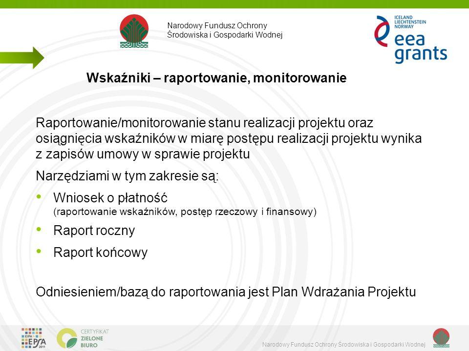 Narodowy Fundusz Ochrony Środowiska i Gospodarki Wodnej Raportowanie/monitorowanie stanu realizacji projektu oraz osiągnięcia wskaźników w miarę postępu realizacji projektu wynika z zapisów umowy w sprawie projektu Narzędziami w tym zakresie są: Wniosek o płatność (raportowanie wskaźników, postęp rzeczowy i finansowy) Raport roczny Raport końcowy Odniesieniem/bazą do raportowania jest Plan Wdrażania Projektu Wskaźniki – raportowanie, monitorowanie