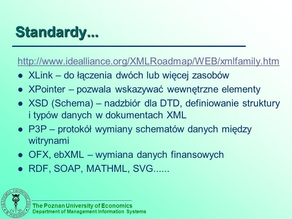 The Poznan University of Economics Department of Management Information Systems Standardy... http://www.idealliance.org/XMLRoadmap/WEB/xmlfamily.htm X