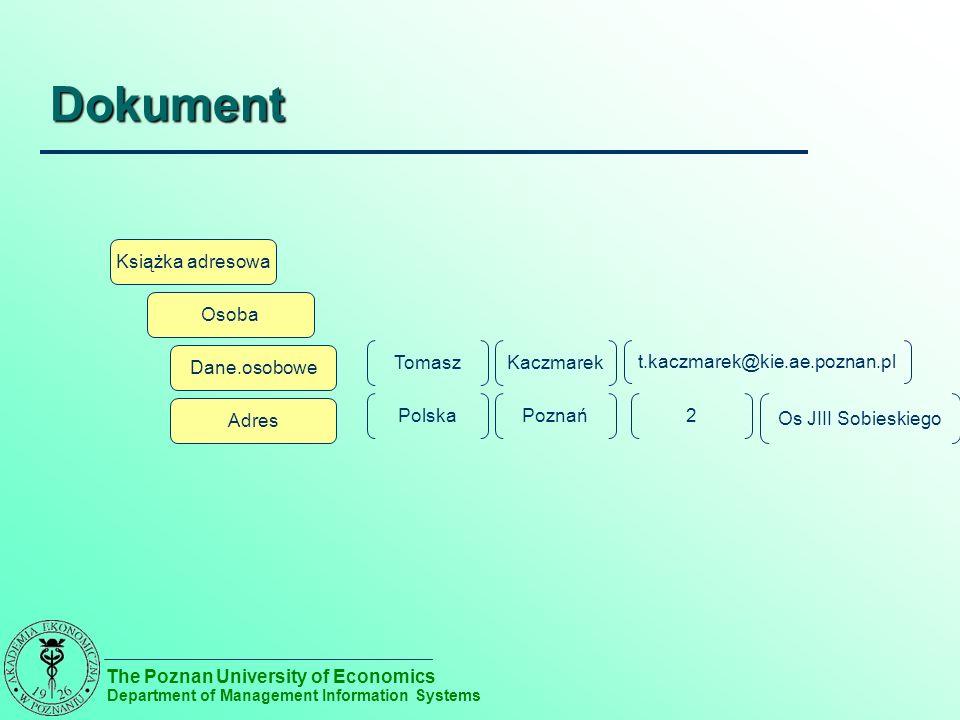 The Poznan University of Economics Department of Management Information Systems Przetwarzanie XML DOM – drzewo elementów XML w pamięci – Duży nakład na wczytanie – Dostęp do elementów bezpośredni SAX – przetwarzanie sekwencyjne – Każdy element / atrybut to zdarzenie – Dostęp do konkretnego wierzchołka tylko po przetworzeniu poprzednich