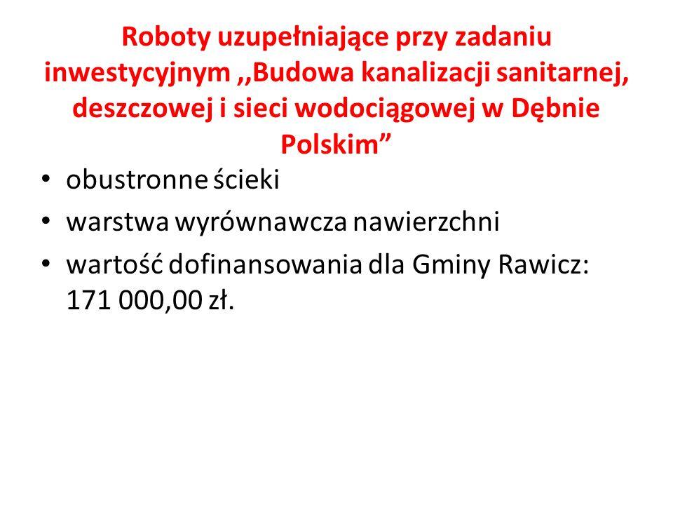 Roboty uzupełniające przy zadaniu inwestycyjnym,,Budowa kanalizacji sanitarnej, deszczowej i sieci wodociągowej w Dębnie Polskim obustronne ścieki warstwa wyrównawcza nawierzchni wartość dofinansowania dla Gminy Rawicz: 171 000,00 zł.