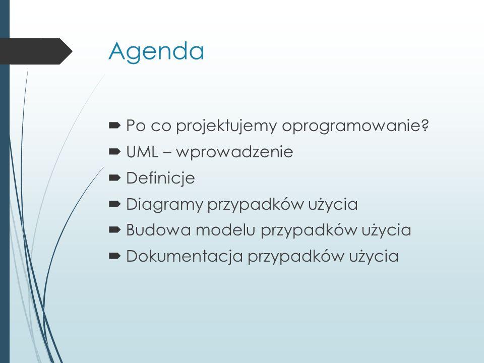 Agenda  Po co projektujemy oprogramowanie.