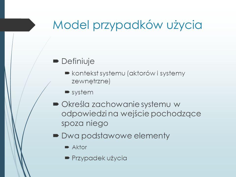 Model przypadków użycia  Definiuje  kontekst systemu (aktorów i systemy zewnętrzne)  system  Określa zachowanie systemu w odpowiedzi na wejście pochodzące spoza niego  Dwa podstawowe elementy  Aktor  Przypadek użycia