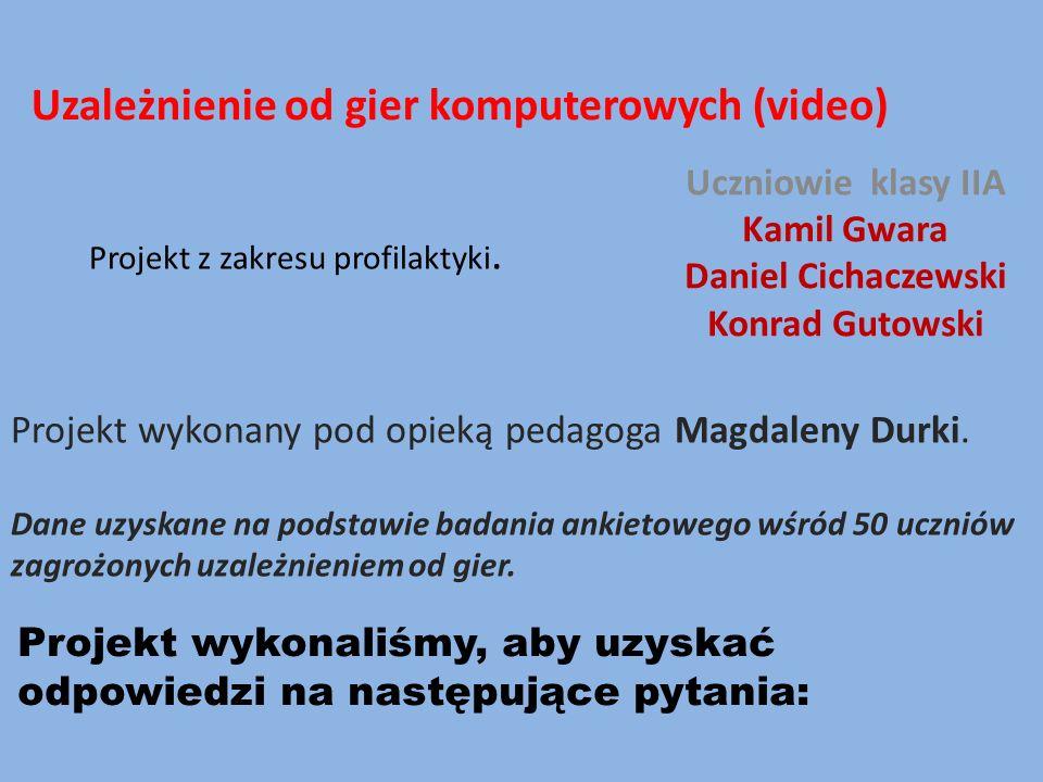 Projekt z zakresu profilaktyki. Uczniowie klasy IIA Kamil Gwara Daniel Cichaczewski Konrad Gutowski Projekt wykonany pod opieką pedagoga Magdaleny Dur