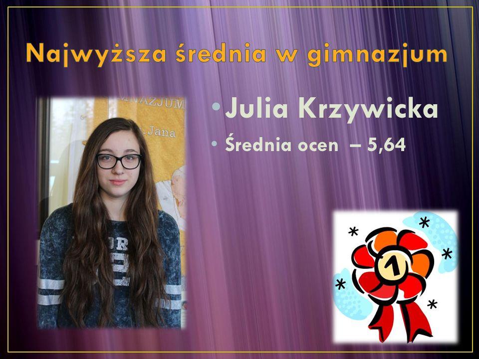 Julia Krzywicka Średnia ocen – 5,64