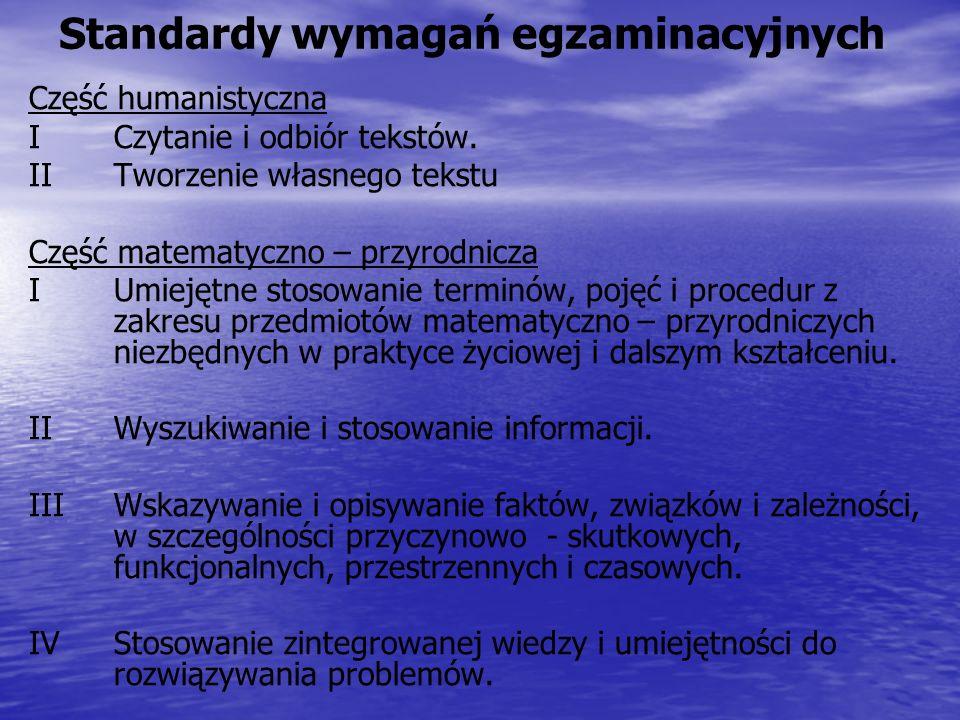Standardy wymagań egzaminacyjnych Część humanistyczna ICzytanie i odbiór tekstów.
