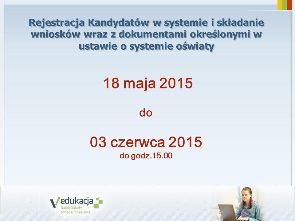 Rejestracja Kandydatów w systemie i składanie wniosków wraz z dokumentami określonymi w ustawie o systemie oświaty 18 maja 2015 do 03 czerwca 2015 do godz.15.00