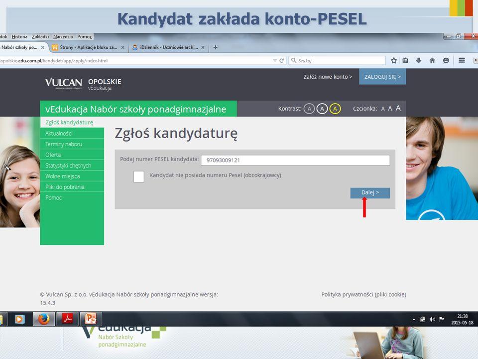 Kandydat zakłada konto-PESEL