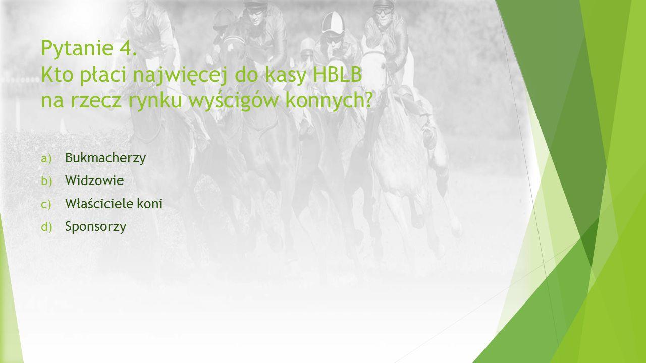 Pytanie 4. Kto płaci najwięcej do kasy HBLB na rzecz rynku wyścigów konnych? a) Bukmacherzy b) Widzowie c) Właściciele koni d) Sponsorzy