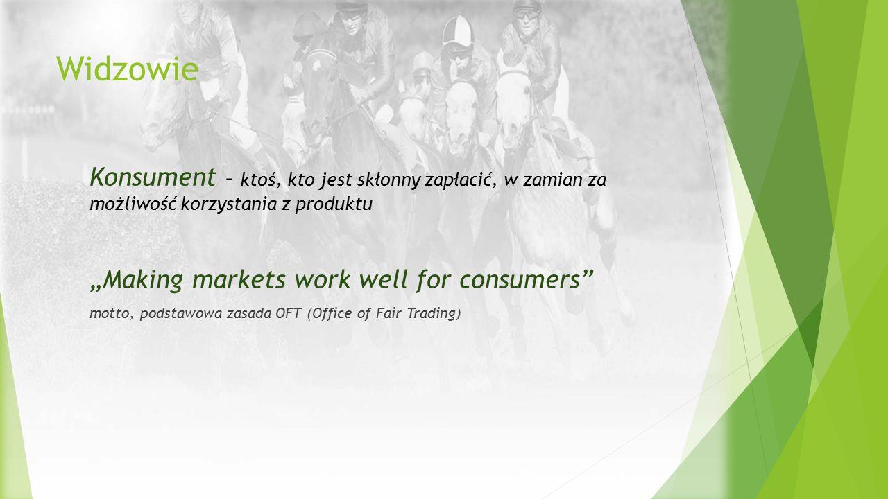 """Widzowie Konsument – ktoś, kto jest skłonny zapłacić, w zamian za możliwość korzystania z produktu """"Making markets work well for consumers"""" motto, pod"""