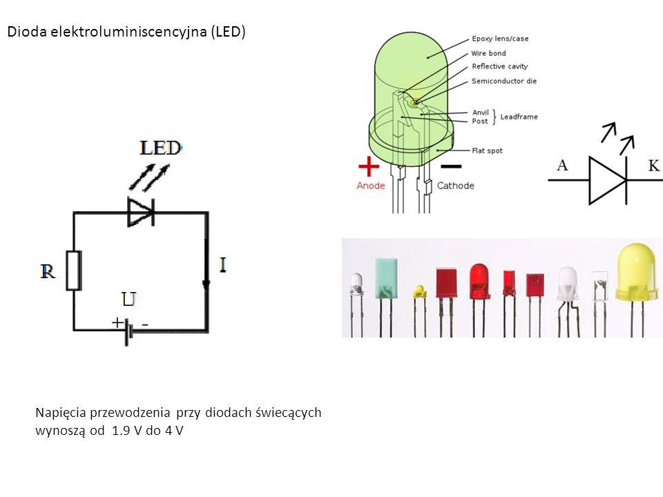 Dioda elektroluminiscencyjna (LED) Napięcia przewodzenia przy diodach świecących wynoszą od 1.9 V do 4 V