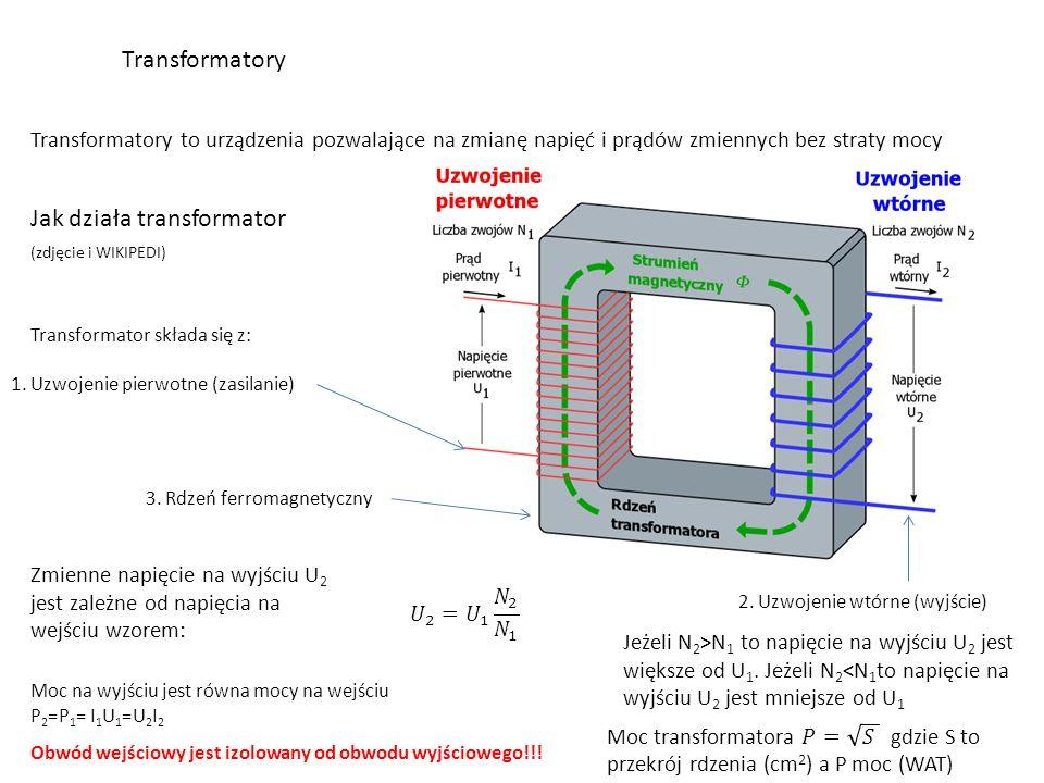 Transformatory Transformatory to urządzenia pozwalające na zmianę napięć i prądów zmiennych bez straty mocy Jak działa transformator (zdjęcie i WIKIPEDI) Transformator składa się z: 1.
