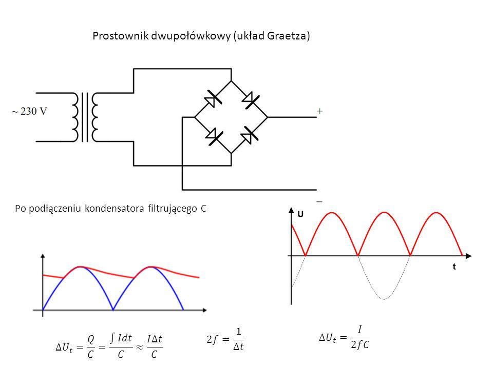 Prostownik dwupołówkowy (układ Graetza) Po podłączeniu kondensatora filtrującego C