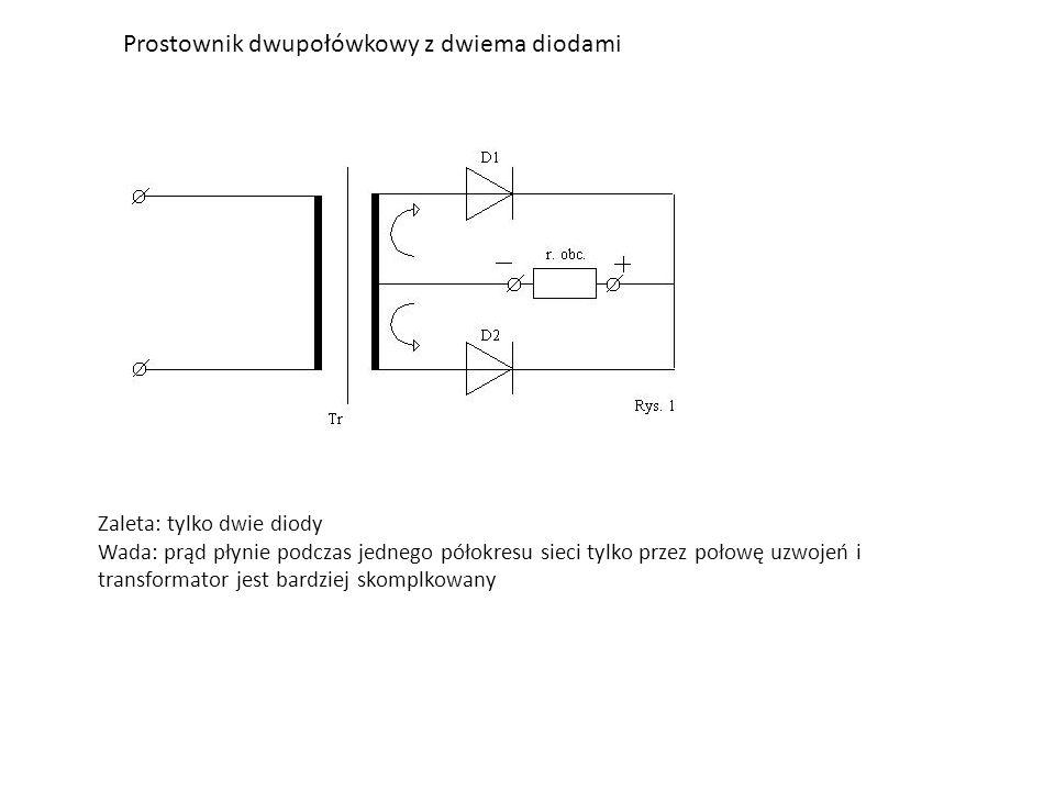Prostownik dwupołówkowy z dwiema diodami Zaleta: tylko dwie diody Wada: prąd płynie podczas jednego półokresu sieci tylko przez połowę uzwojeń i transformator jest bardziej skomplkowany