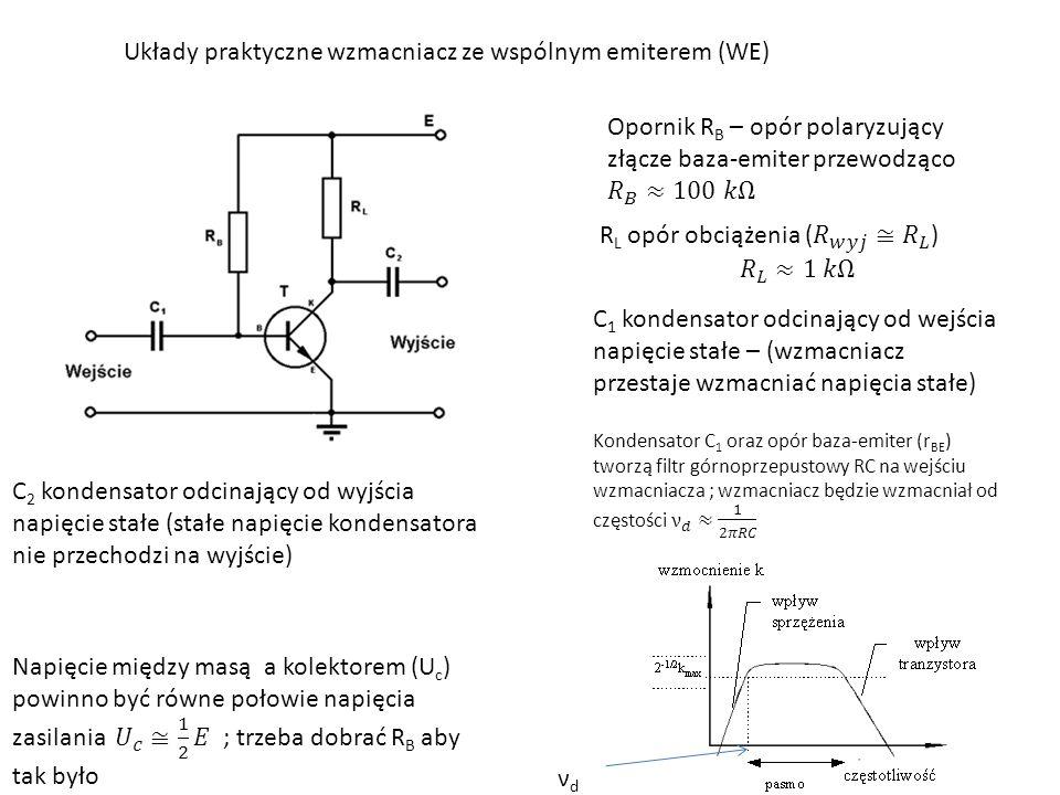 Układy praktyczne wzmacniacz ze wspólnym emiterem (WE) C 1 kondensator odcinający od wejścia napięcie stałe – (wzmacniacz przestaje wzmacniać napięcia stałe) C 2 kondensator odcinający od wyjścia napięcie stałe (stałe napięcie kondensatora nie przechodzi na wyjście) νdνd